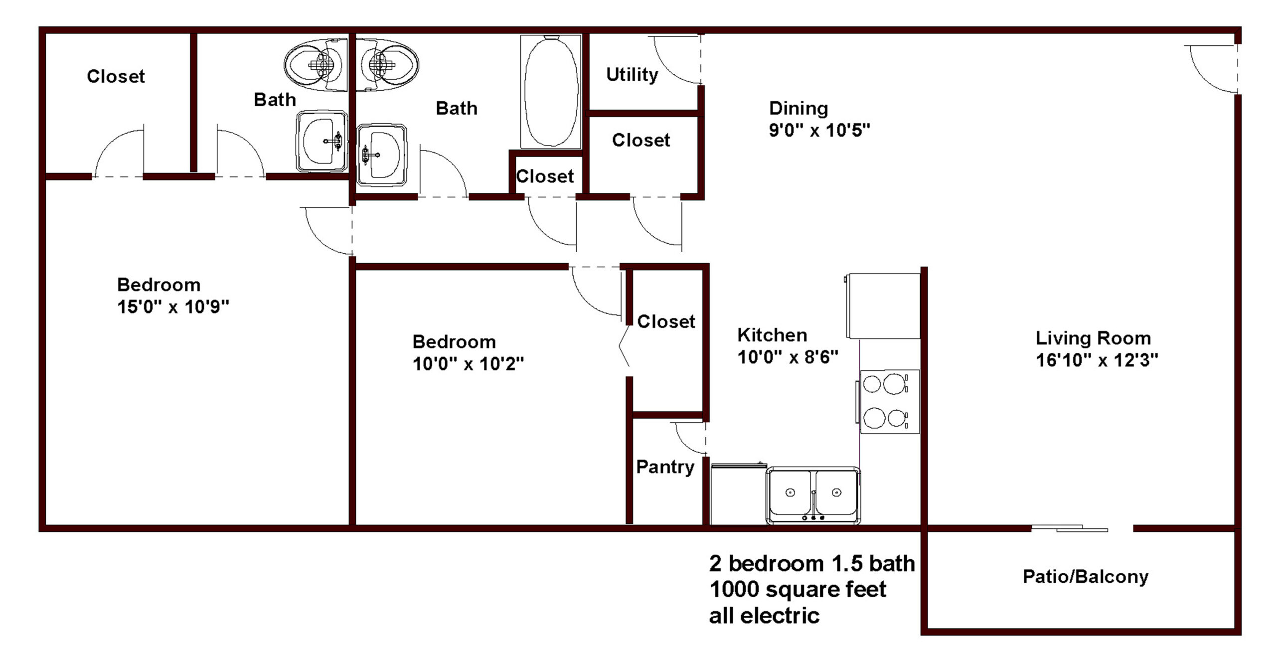 apartments in chapel hill 2 bedroom 1/5 bath floor plan