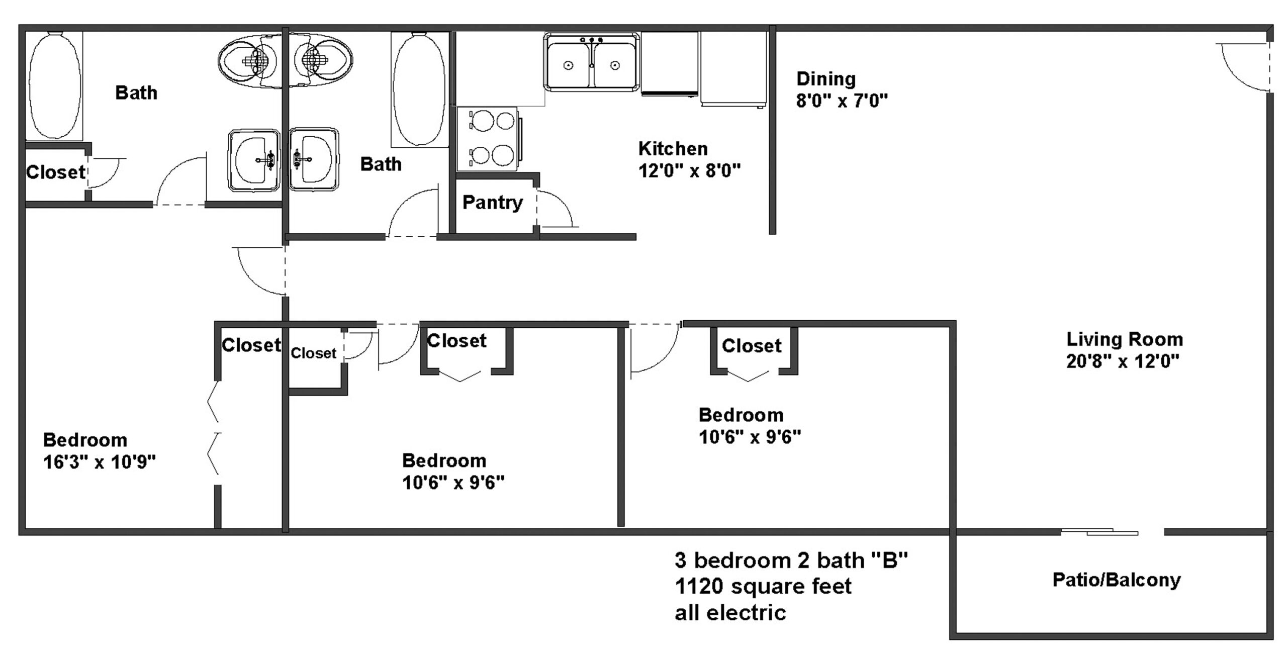 apartments in chapel hill3 bedroom 2 bath floor plan