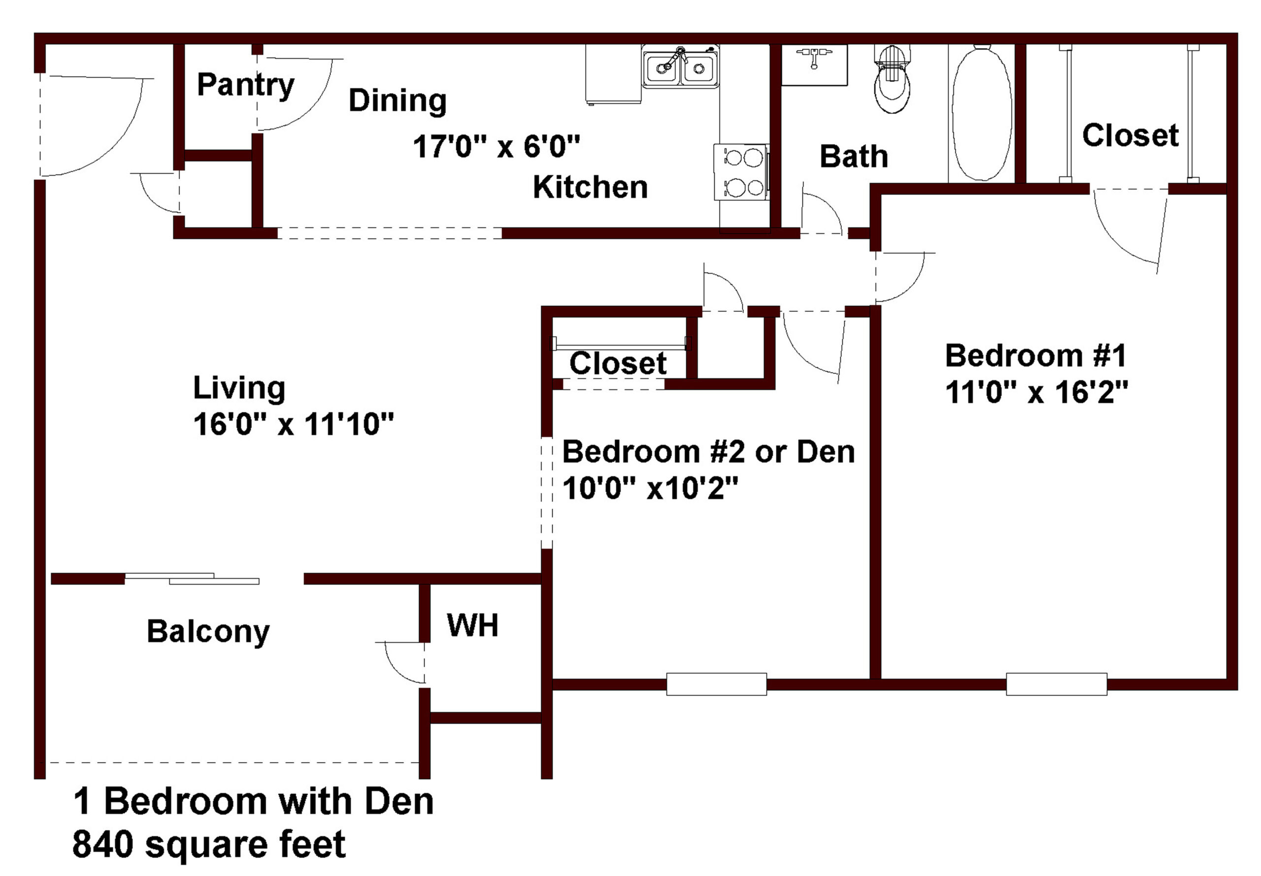 apartments in chapel hill 1 bedroom 1 bath with den floor plan